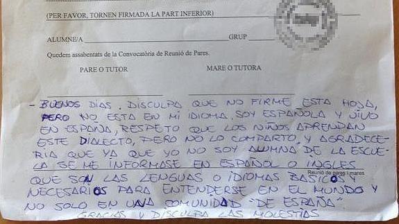 La polémica respuesta de una madre a un profesor que se dirigió a ella en valenciano - Yahoo Noticias España