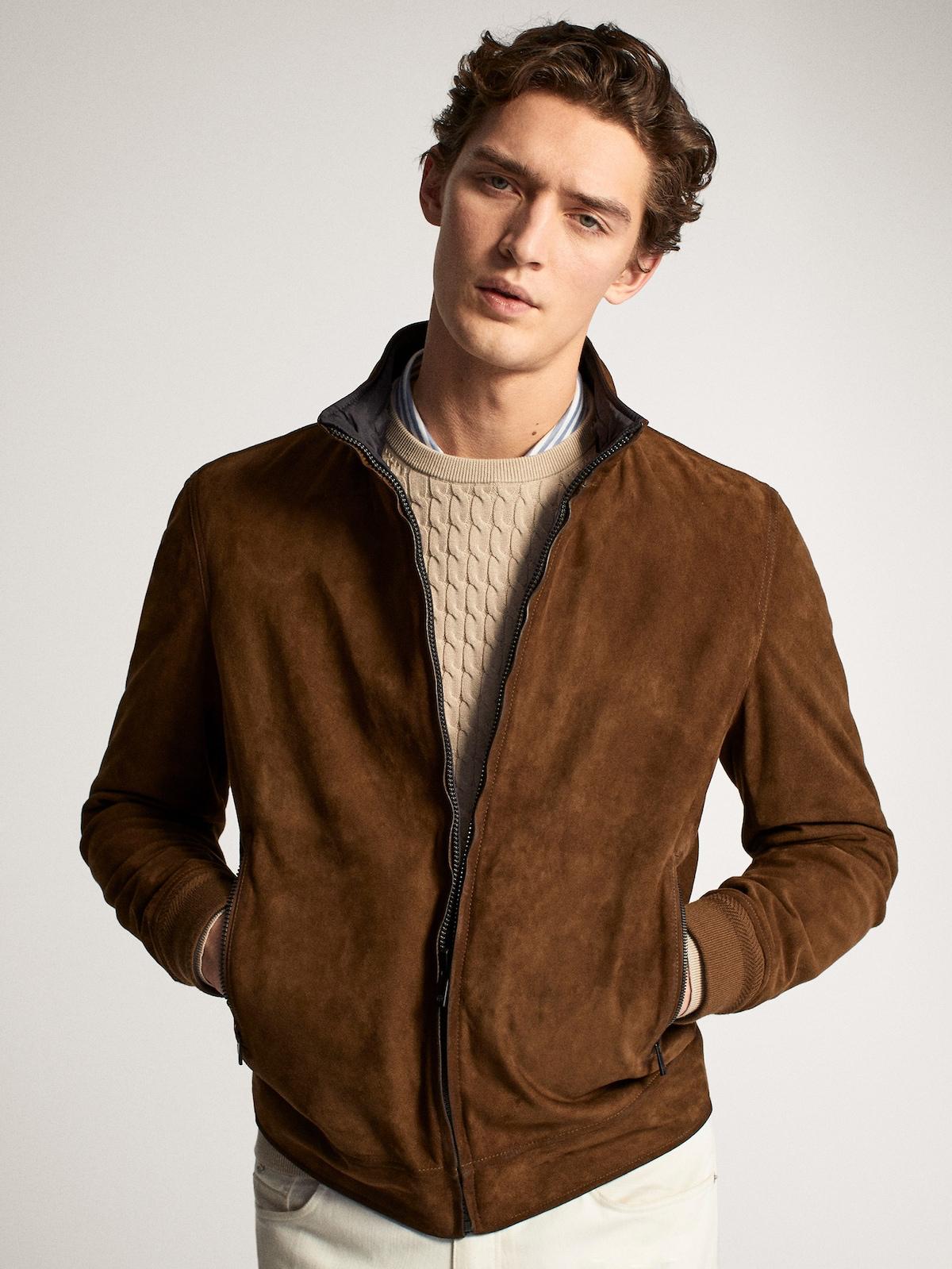Layering Piece Men Fashion Suede Bomber Jacket Men Suede Bomber Jacket Leather Jacket Men Style