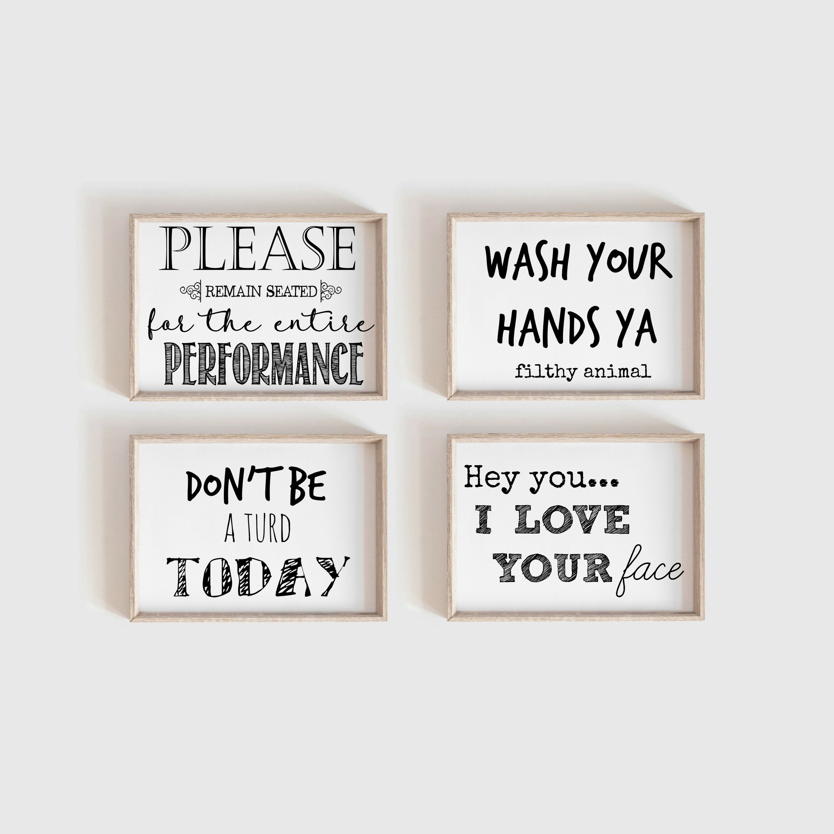 Funny Bathroom Art Bathroom Prints Printable Art Kids Bathroom Set Of 4 Bathroom Wall Decor Bathroom Printables Funny Wall Art Bathroomdecor Bathroom Humor Funny Bathroom Art Bathroom Art