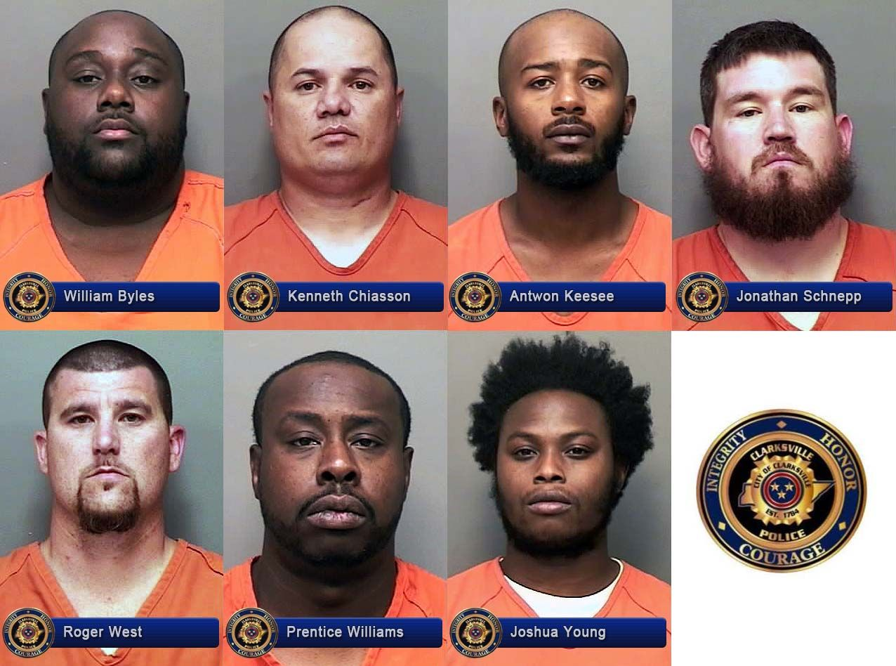 Clarksville Police Department reports Seven Men indicted for