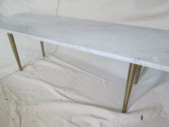 RESERVED For Emily Italian Marble Slab Coffee Table Bench Mid Century  Carrera Marble Tapered Gold Tone Leg Modern Marble Coffee Table