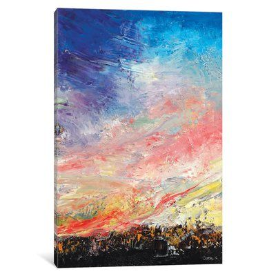 """East Urban Home 'Wildfire' Painting Print on Canvas Size: 26"""" H x 18"""" W x 0.75"""" D"""