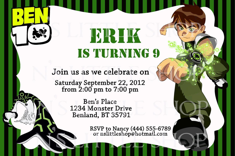 ben 10 inspired birthday invitation
