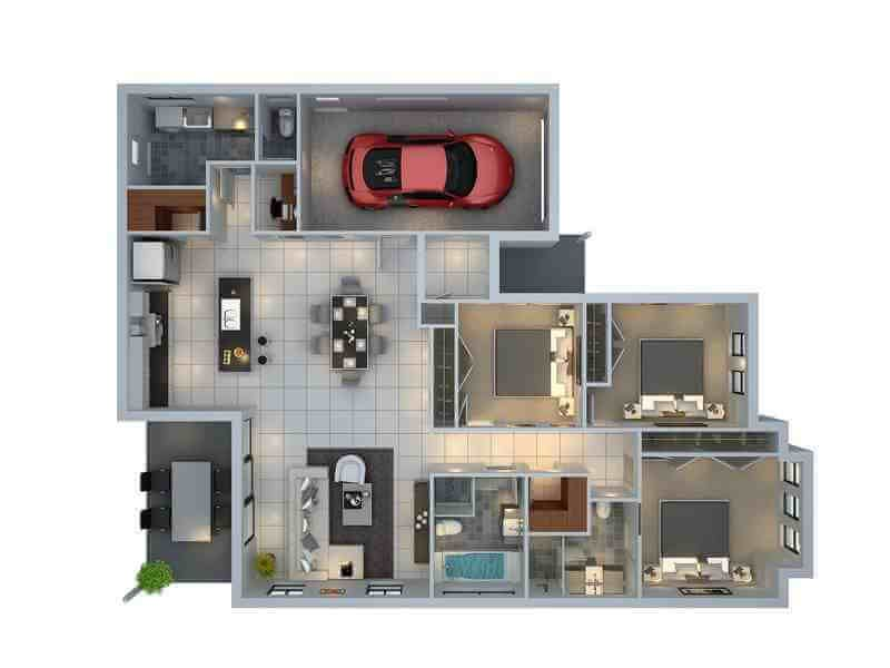30 Denah Rumah Minimalis 3 Kamar Tidur 3d Tiga Dimensi Denah