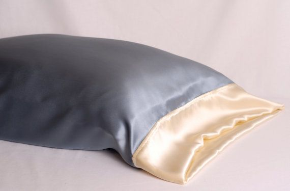 100 Silk Pillowcase Smokey Blue & Buttercream by AdorabellaBaby, $42.50