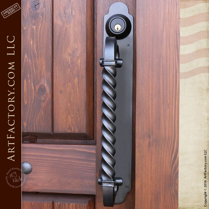 Offset Spiral Twist Door Pull With Matching Hand Forged Iron Backplate Door Pulls Door Handles Wrought Iron Front Door