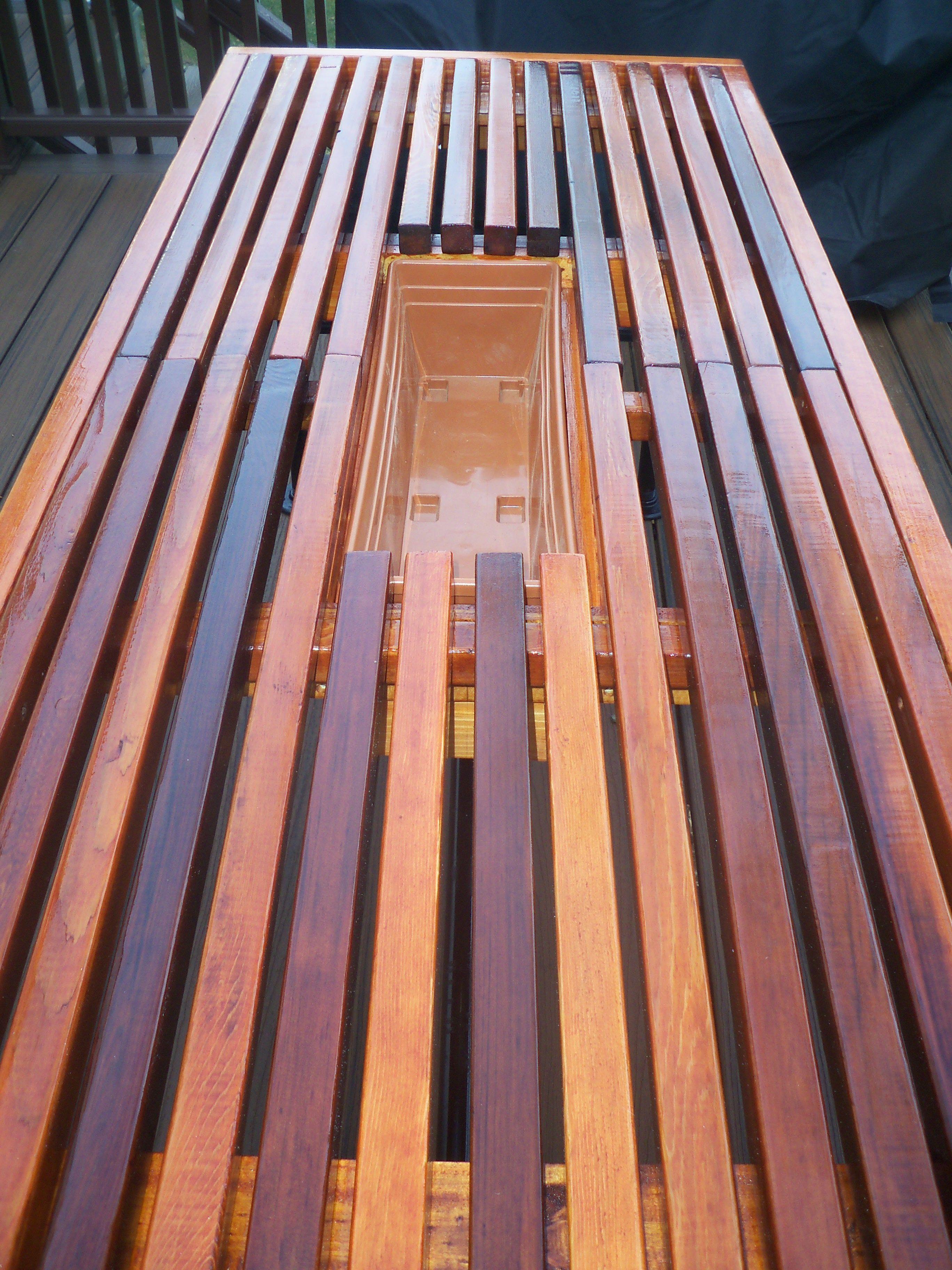 Cedar Outdoor Table With Built In Wine U0026 Beer Cooler With Metal Pipe Legs.