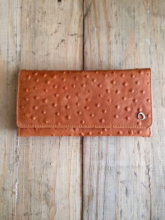 Woman leather wallet, trifold leather wallet, Orange Ostrich Embossed, Womens Leather Wallet, slim leather wallet, Gifts for her, under 80