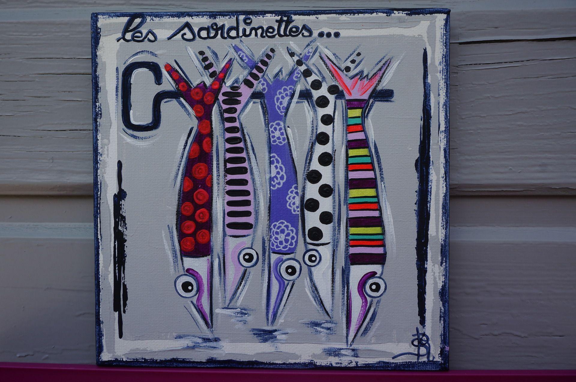 Tableau toile sardines peinture color e moderne poissons for Idee tableau a peindre