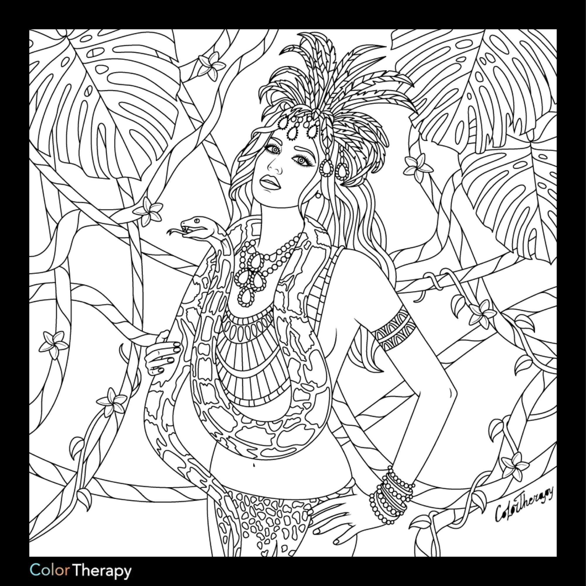 Jungle beauty colouring page | Beautiful Women Coloring Pages for ...