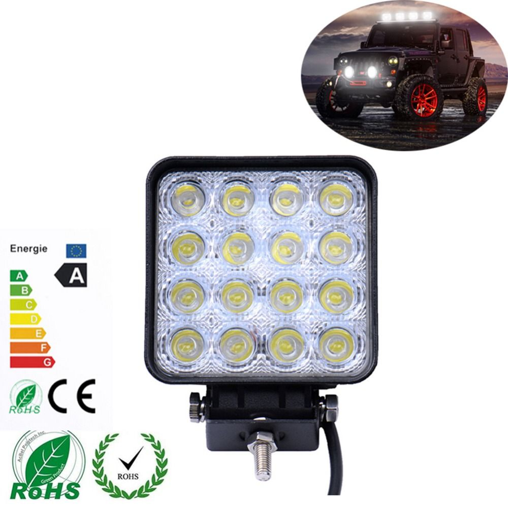 1 pieces 48w 16 x 3w car led light bar as square work light flood 1 pieces 48w 16 x 3w car led light bar as square work light flood light mozeypictures Choice Image