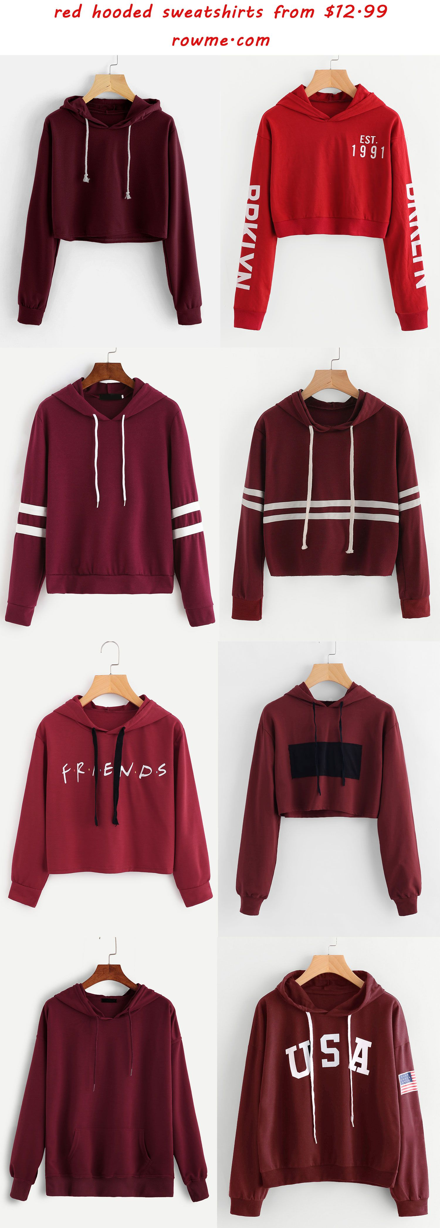 red hooded sweatshirts - romwe.com