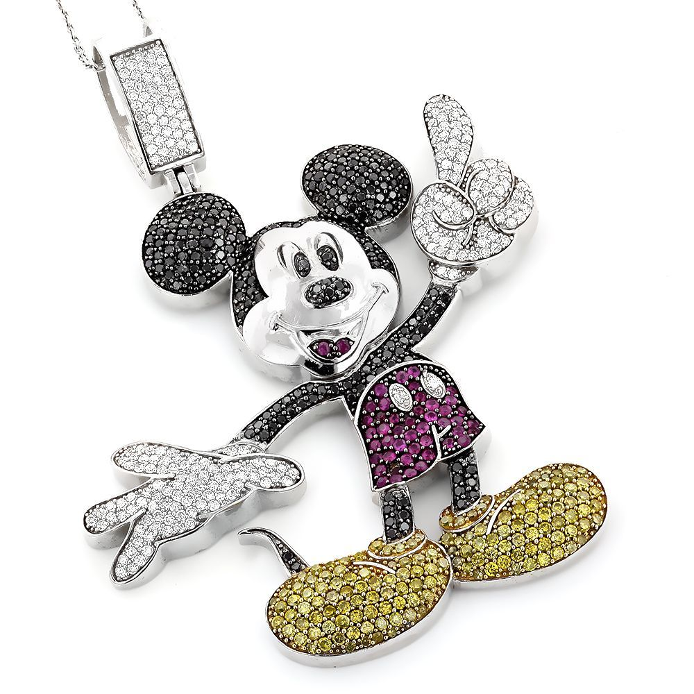 10k Gold 5 15ct TDW Color Diamond Mickey Mouse Necklace Jewelry