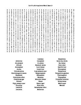 Earth S Atmosphere Word Search Words Vocabulary Words Earth