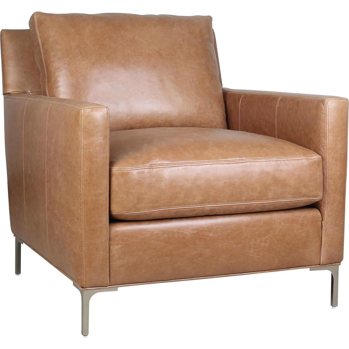 Best Spectra Turner Accent Chair Cognac Brown Top Grain Leather 400 x 300
