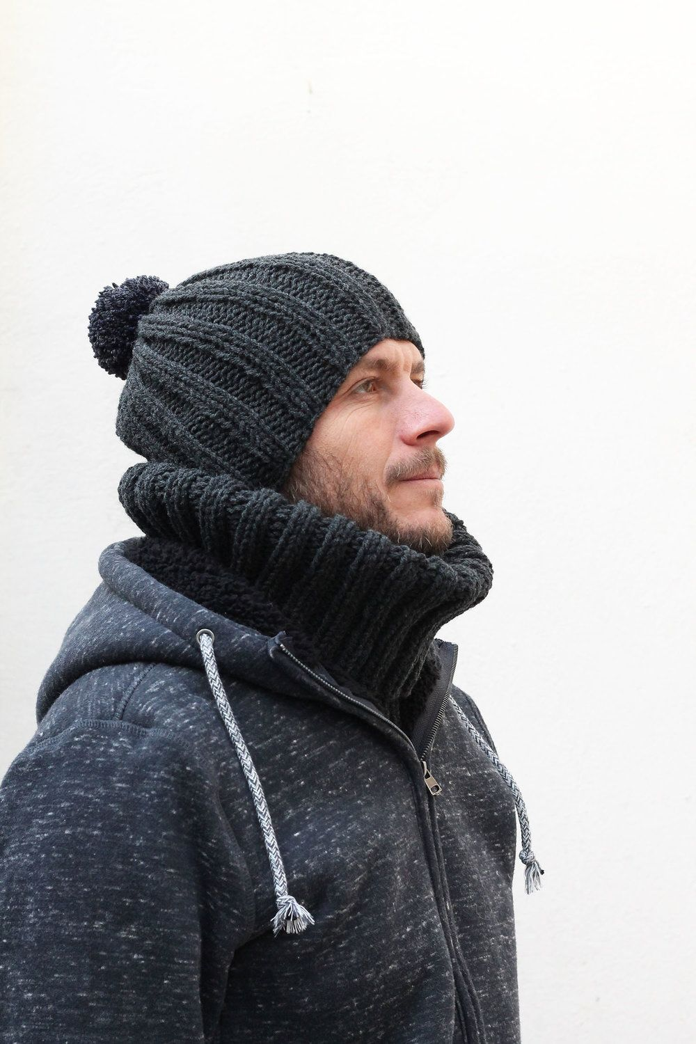 98f47d98ddaabc I knit a simple ribbed beanie for my husband for the winter. He is wearing
