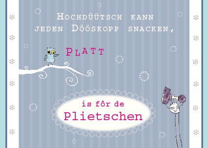 plattdeutsche postkarte eule plattd tsch plattdeutsch. Black Bedroom Furniture Sets. Home Design Ideas