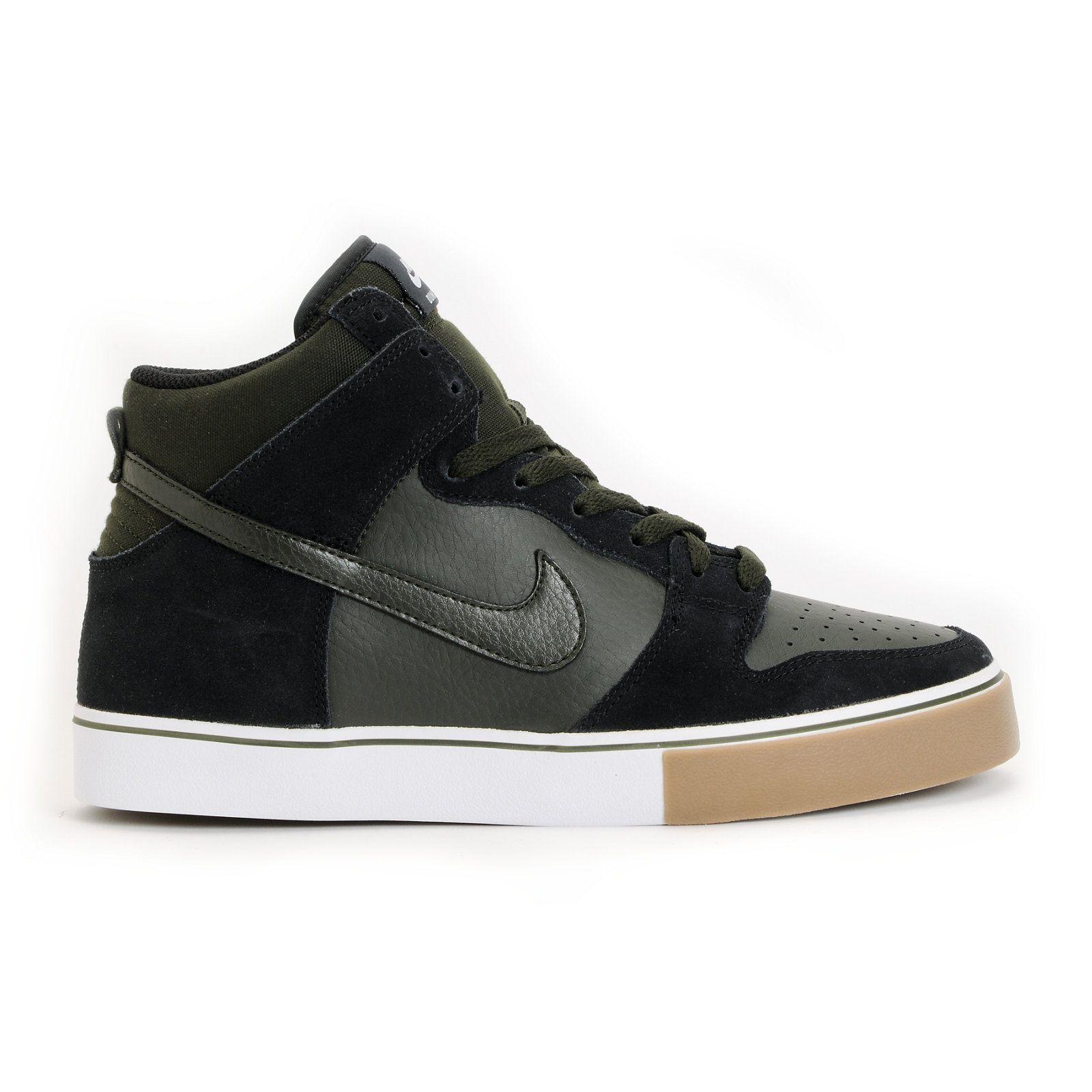 ... Nike SB Dunk High LR Black, Sequoia, Gum Medium Brown White Shoe at .