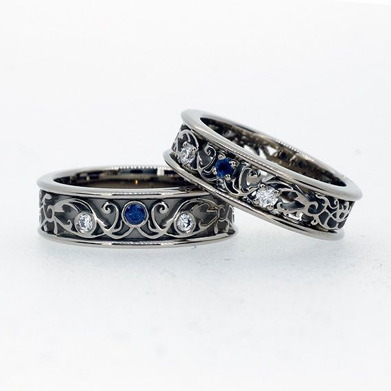 Filigree wedding band set with blue sapphires and diamonds matching