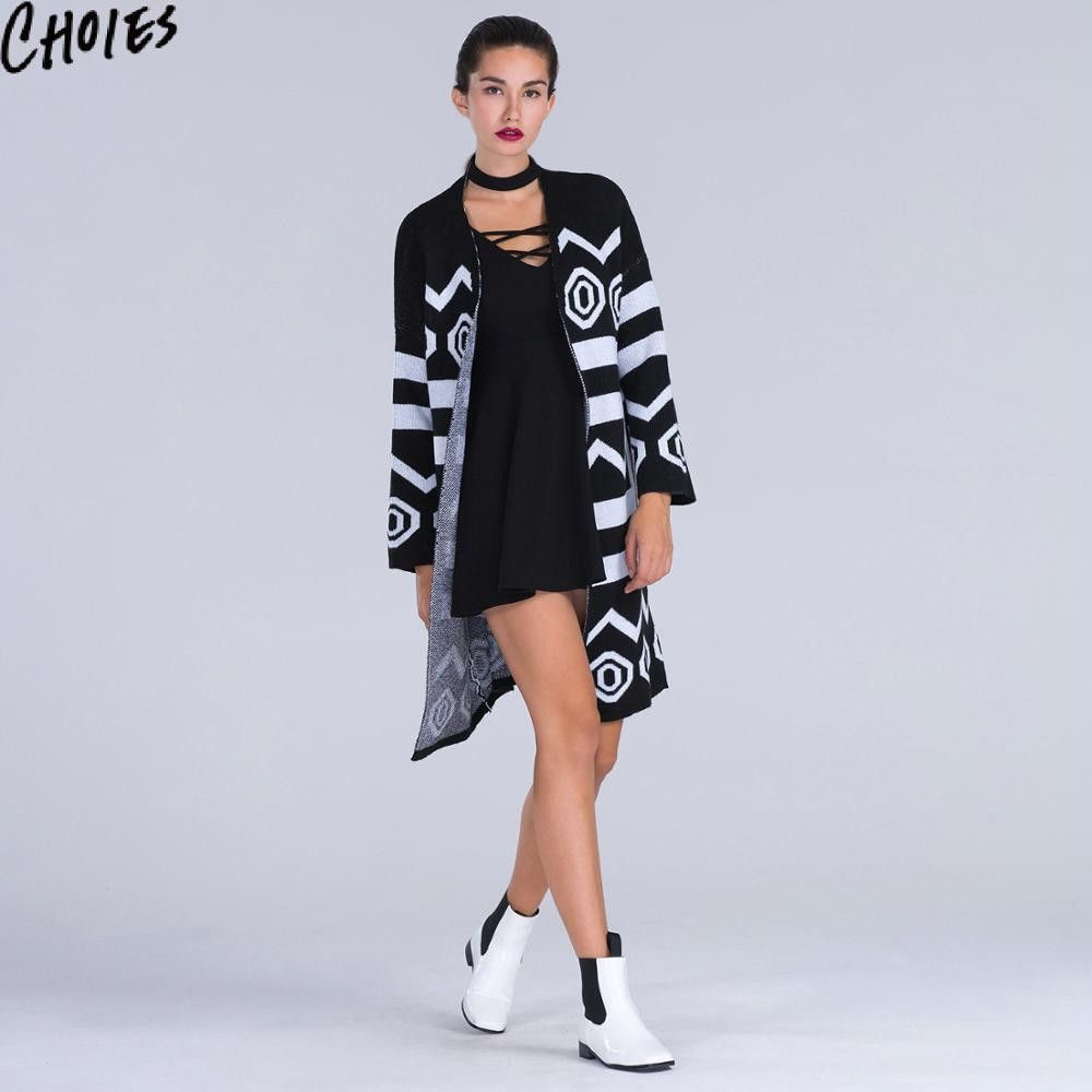 Women Black Longline Cardigan Geo Loose Casual Long Sleeve Knitted ...