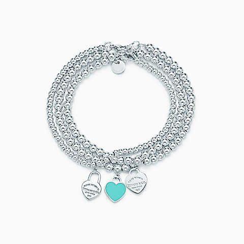 Return To Tiffany Mini Heart Tags On Sterling Silver Bead Bracelets