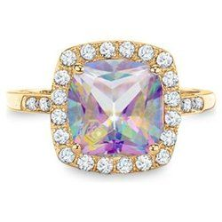 Solid Yellow Gold Mystic Fire Topaz And White Shire With Genuine Diamond Ring