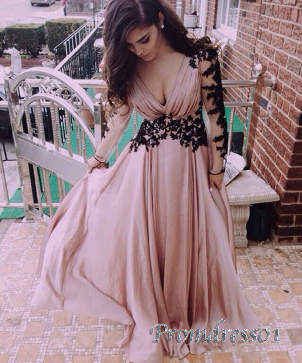 Simple long chiffon vneck formal prom dress with sleeves clothes