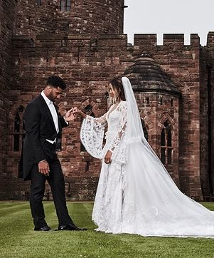 Ciara And Russell Wilson S Fairytale Wedding See The First Portrait And Her Monogrammed Gown Famous Wedding Dresses Celebrity Wedding Dresses Celebrity Bride