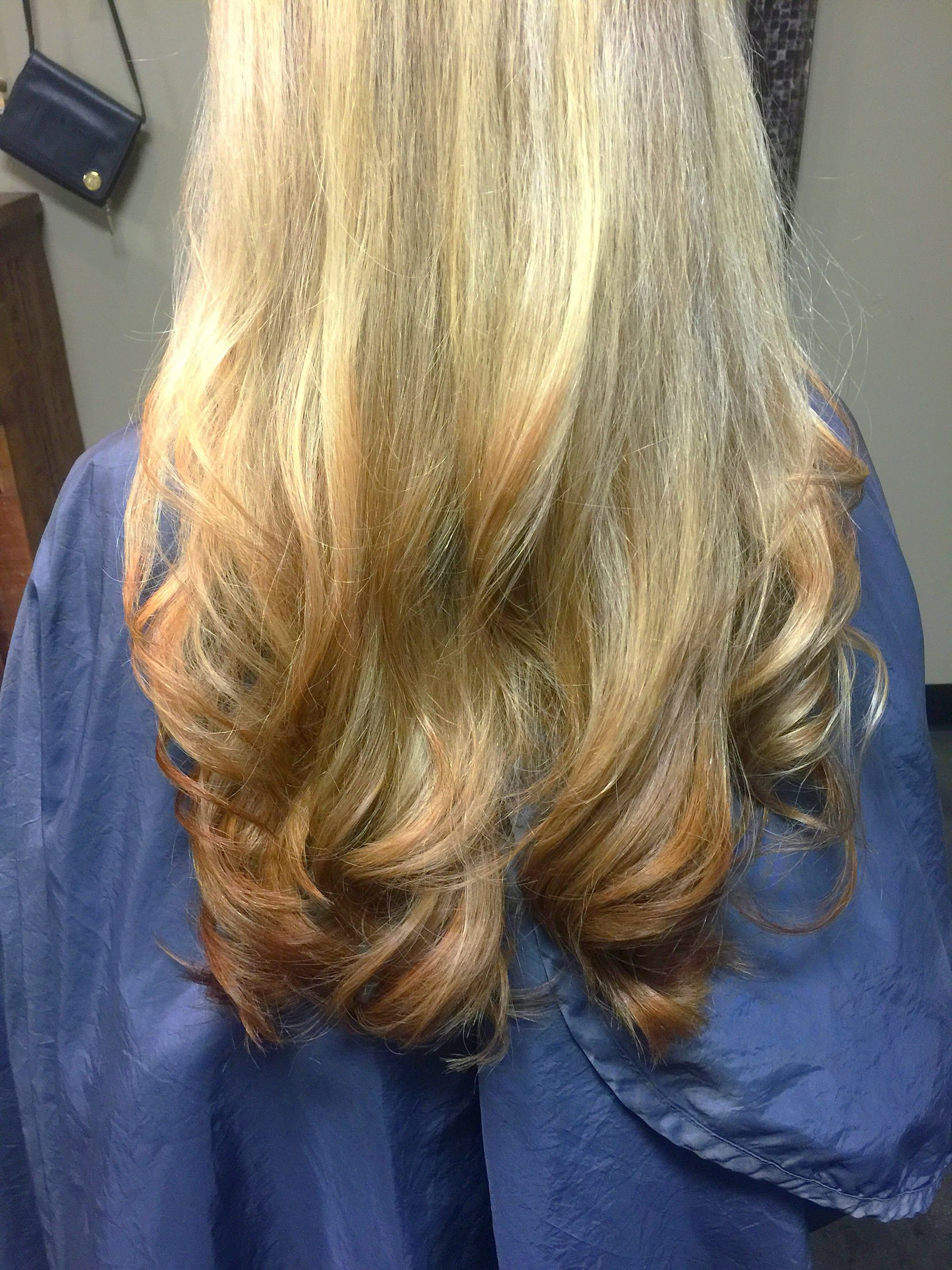 Reverse ombre -- blonde to golden copper