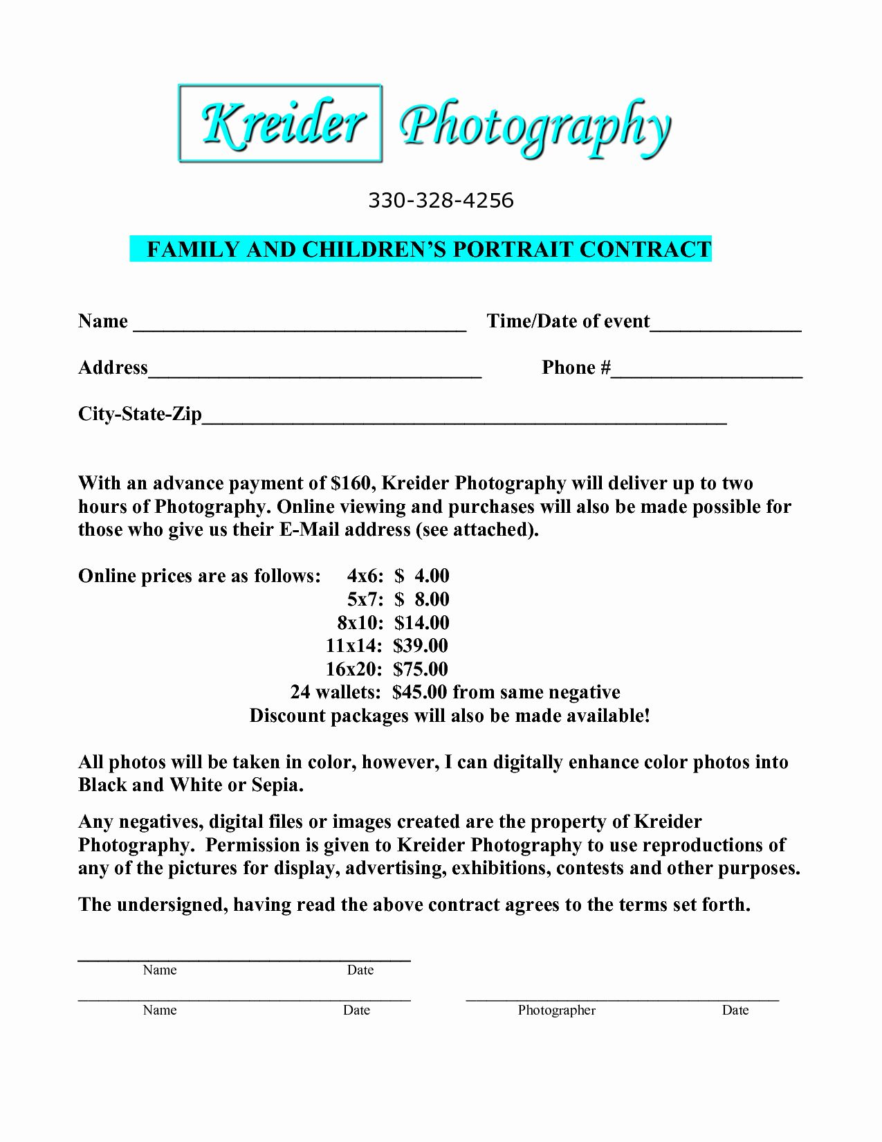 portrait photography contract template awesome resume format editable pdf download good application letter for employment nursing objective statement examples