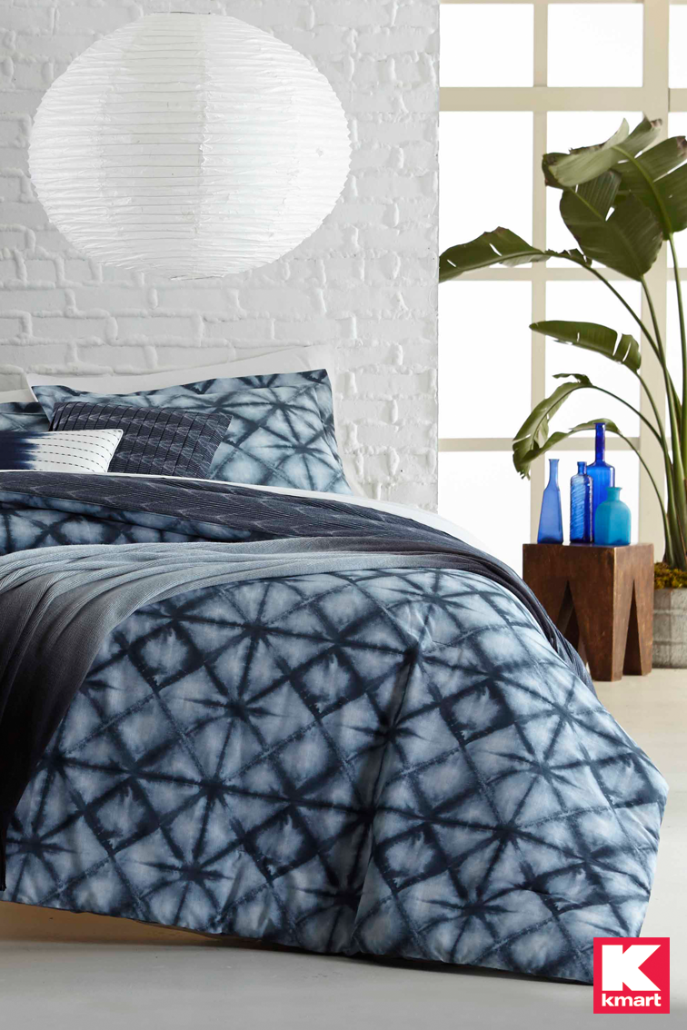 make a big impact with unique bedding details from kmart make your bedroom a super stylish space at your pad by adding this 5 pc indigo pigment comforter - Kmart Bedding
