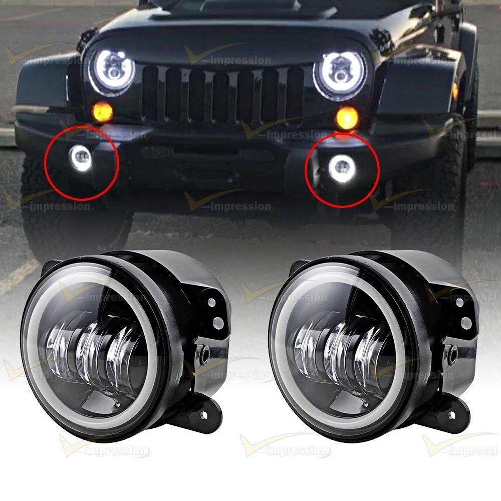 4 Cree Led Fog Light Halo Ring Angle Eyes For Jeep Wrangler Jk Lights Grand Cherokee