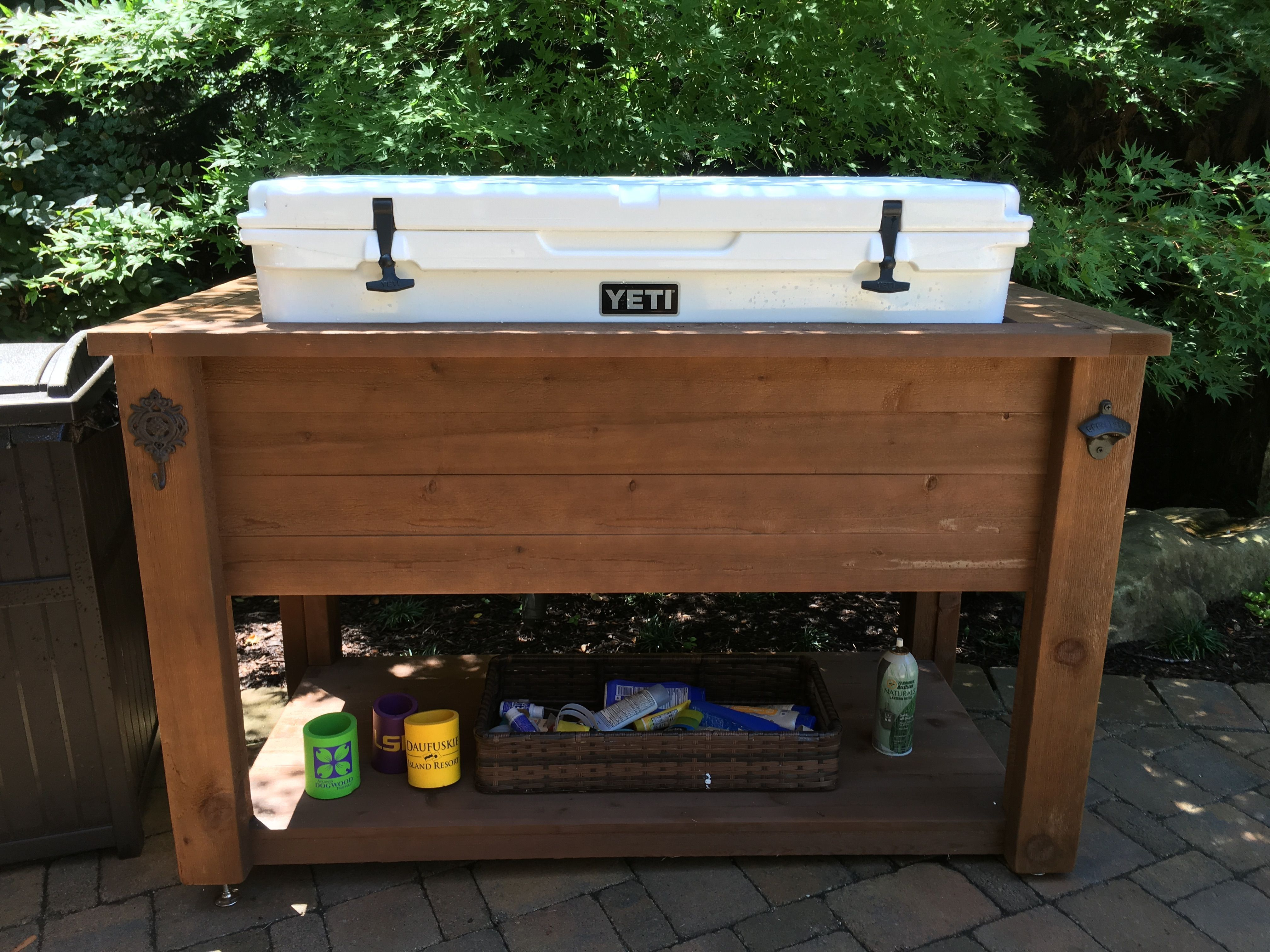 Barn Wood Cooler Console Table Ice Chest Sideboard Buffet Big Green Egg Deck Barn Wood Wood Cooler Barn Wood Projects