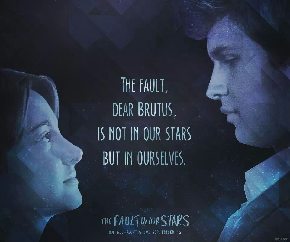 The fault, dear Brutus, is not in our stars but in ourselves.