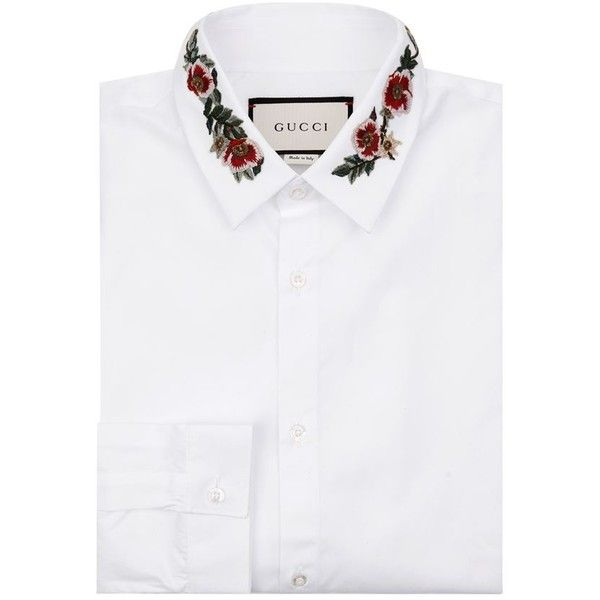 4f9685cc7041 Gucci Embroidered Collar Shirt ($500) ❤ liked on Polyvore featuring men's  fashion, men's clothing, men's shirts, gucci mens clothing, gucci mens  shirts, ...