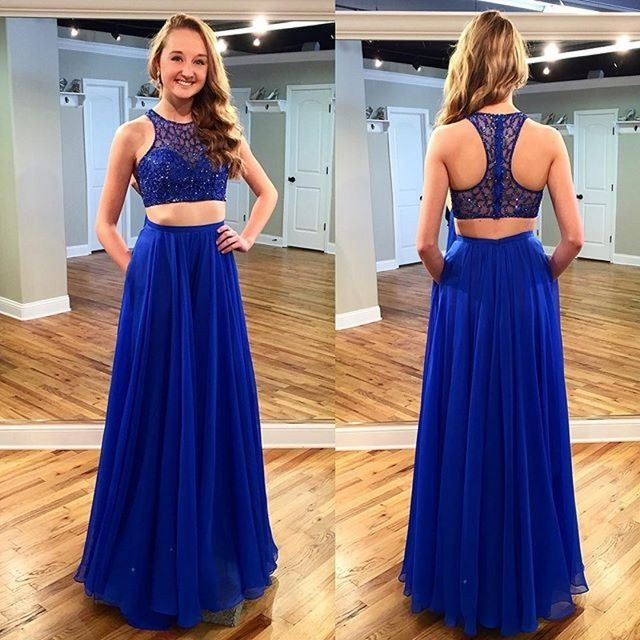 Royal Blue Beaded Prom Dresses, Halter Illusion Prom Dress, Floor-length Crop  Top Prom Dress, Two Piece Prom Dress, #020102173 from VanessaWu
