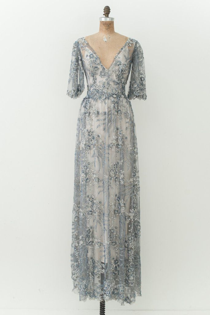 GOSSAMER Blue Beaded Gown - S | Animal print pants outta control ...