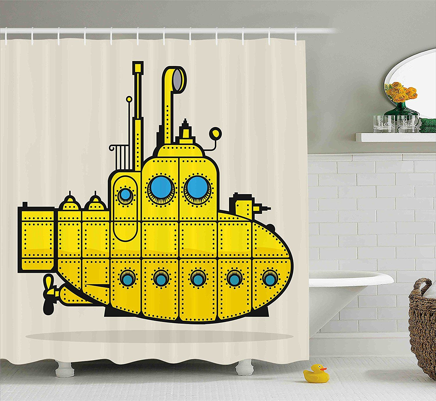 Beatles Yellow Submarine Shower Curtain For The Bathroom Decor Yellow Shower Curtains Shower Curtain Curtains