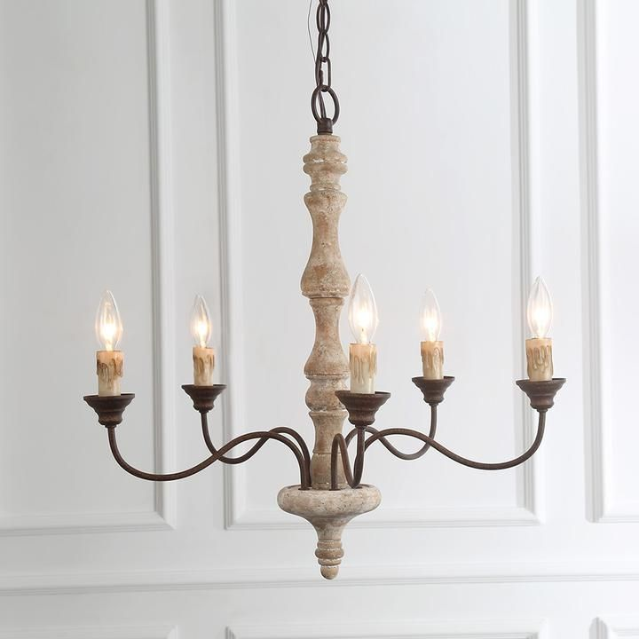 Simple Wooden Chandelier - 5 Lights | French country ...