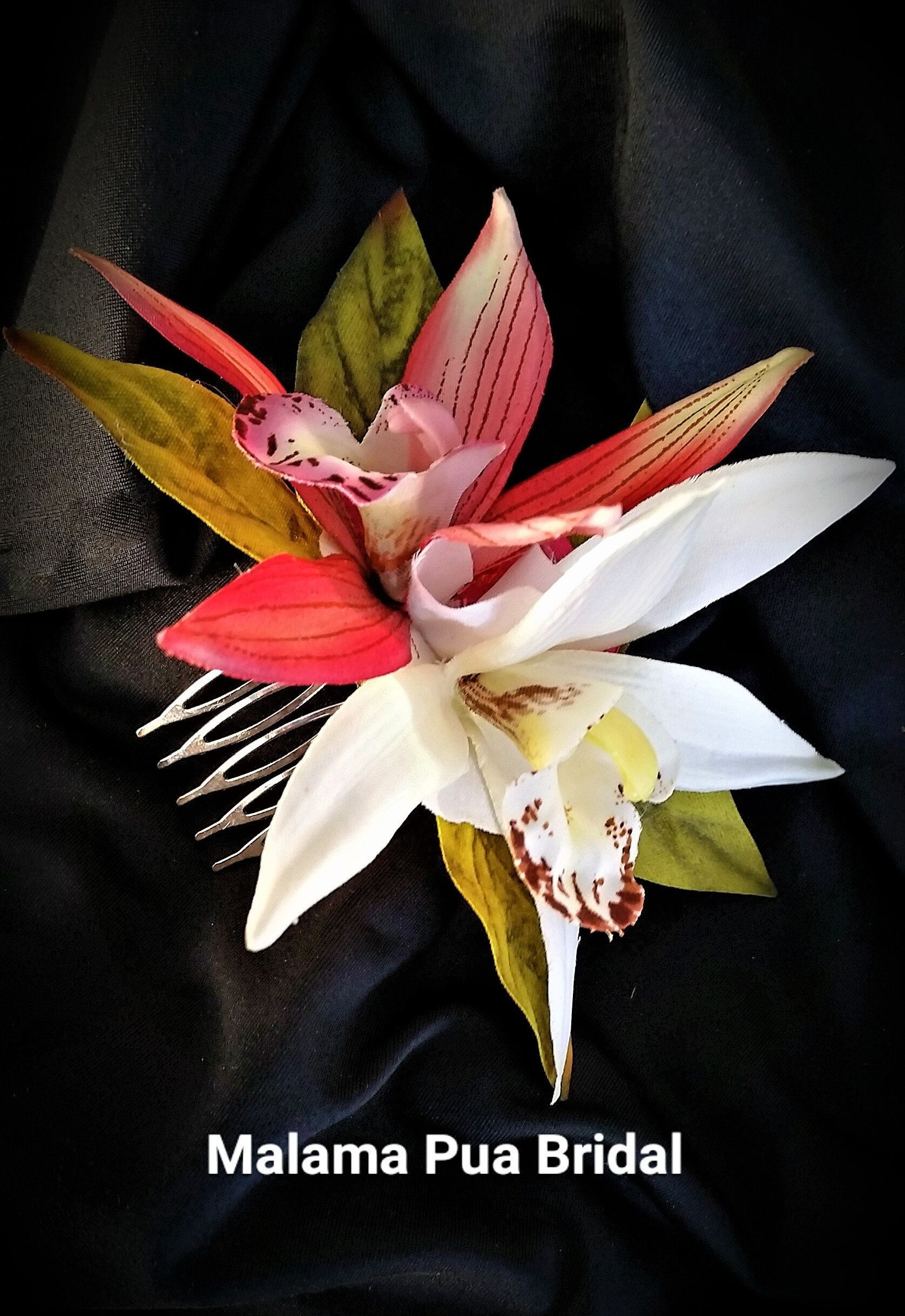 Tropical Flower Hair Comb Wedding Hair Accessory Petite Silk Hair Flower Orchid Hair Clip Hawaiian Silk Hair Flower Flower Hair Comb Wedding Hair Flowers
