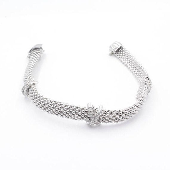 925 Sterling Silver Inox Italian Woven Beaded Diamond Bracelet