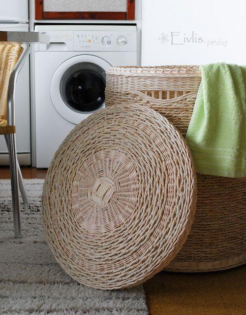 Prádelní koš s víkem - přírodní, kulatý