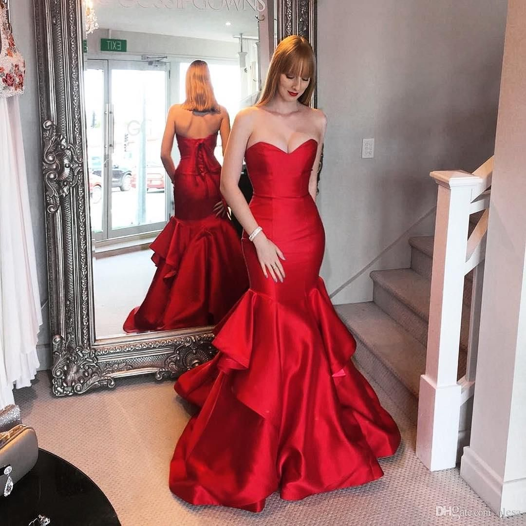 511c674710b Modern Red Satin Mermaid Prom Dresses 2017 Beautiful Sweetheart Sleeveless  Sweep Train with Flounced Skirt Corset Lace Up Back Evening Gowns Mermaid  Prom ...