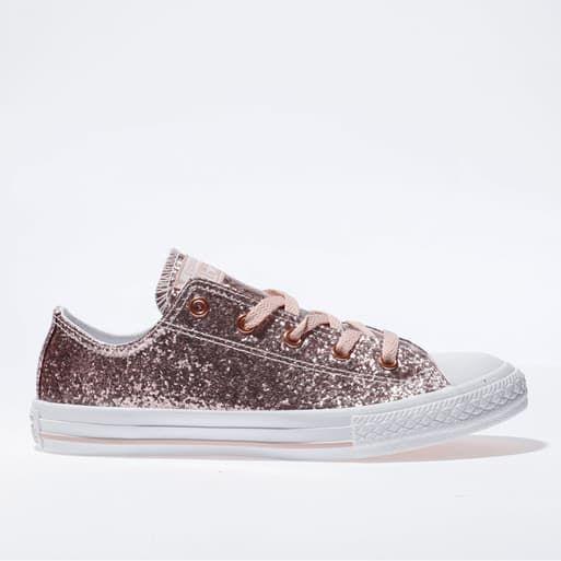 Girls pink converse all star ox glitter