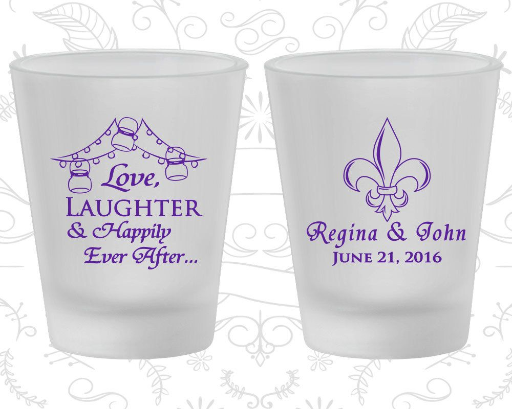 Love Laughter Happily Ever After, Wedding Frosted Glassware, Fleur ...
