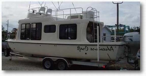 boatonTrailerjpg 500375 Houseboat Yukon Delta Pinterest