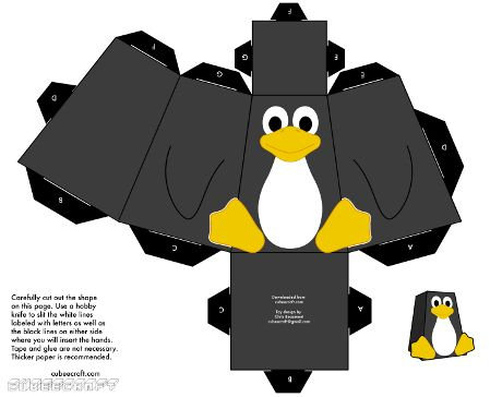 Free Penguin Paper Toy Template  TuxBastelbogen  Paper Toy
