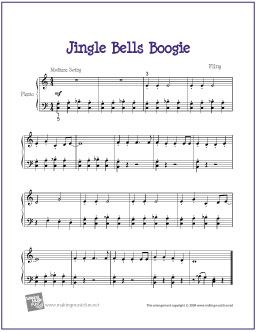 Jingle Bells Boogie Christmas Free Sheet Music For Easy Piano