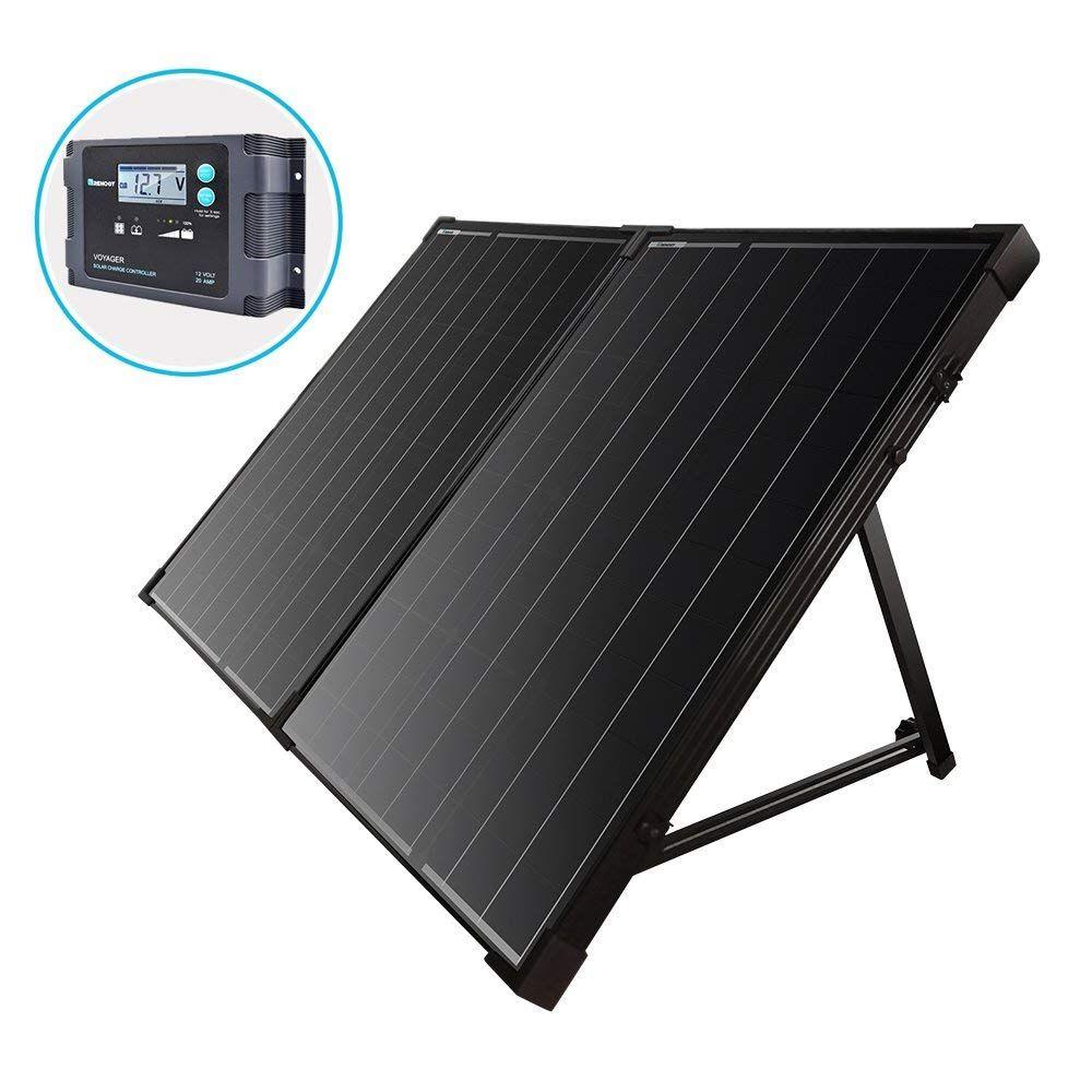 Renogy 100 Watt 12 Volt Monocrystalline Foldable Portable Solar Suitcase With Voyager Waterproof Charge Solar Power Kits Off Grid Solar Power Best Solar Panels