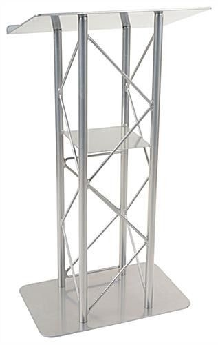 25 Inch Truss Lectern With Interior Shelf Open Front Silver 19611 Shelves Lectern Interior